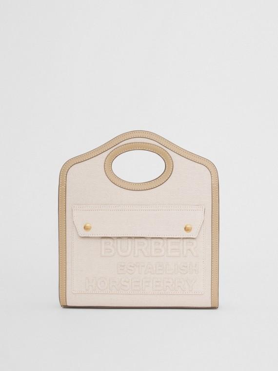 Bolso Pocket mini en lona de lino y algodón con motivo Horseferry (Crudo)