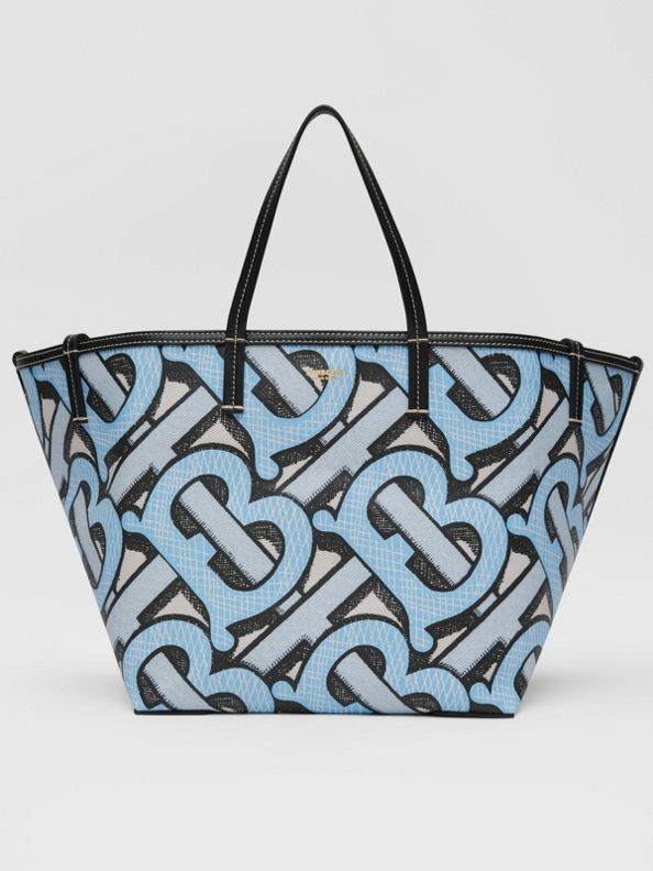Mini Monogram Print E-canvas Beach Tote in Pale Azure
