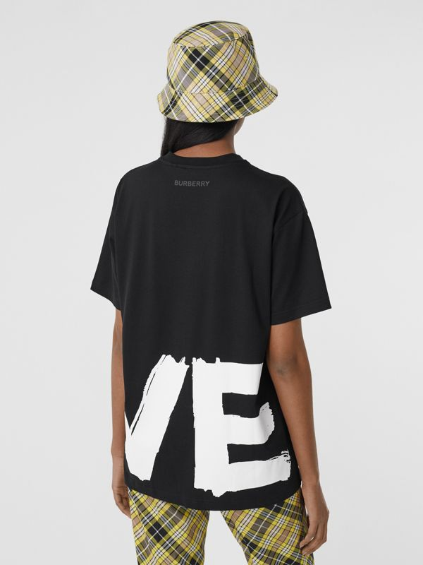 Love Print Cotton Oversized T-shirt in Black - Women | Burberry - cell image 2