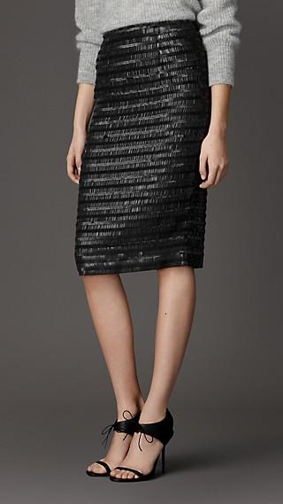 Embellished Silk Pencil Skirt