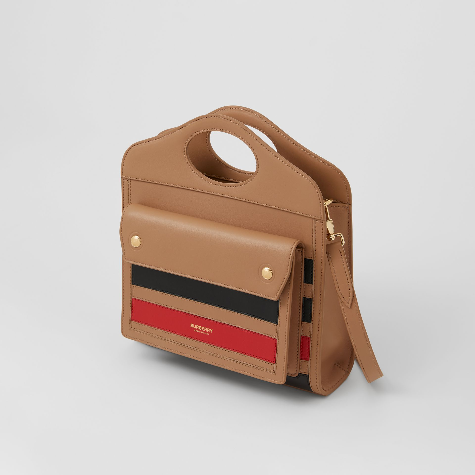 Mini Striped Intarsia Leather Pocket Bag in Camel - Women | Burberry - gallery image 3