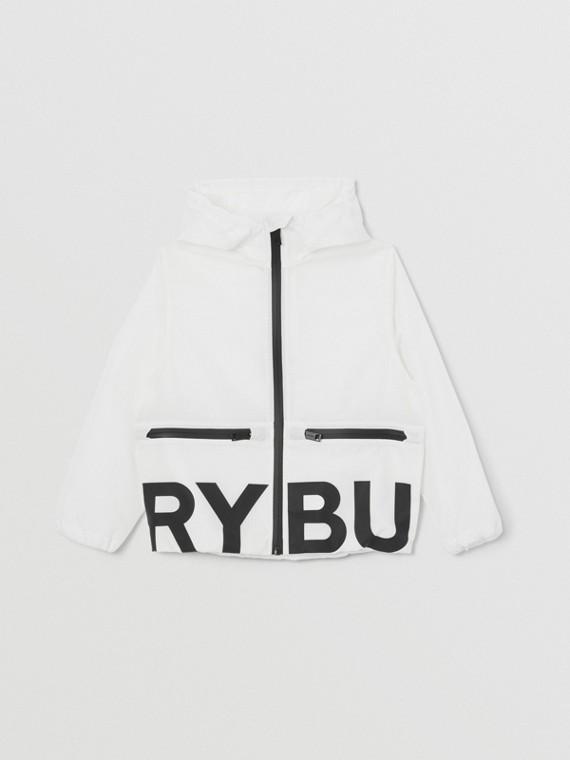 Logo Print Lightweight Nylon Hooded Jacket in Optic White