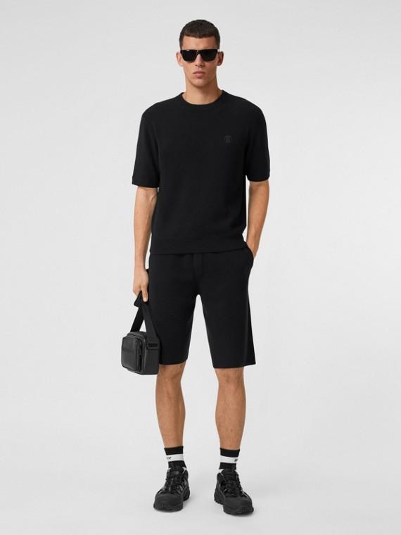 Monogram Motif Cashmere Drawcord Shorts in Black