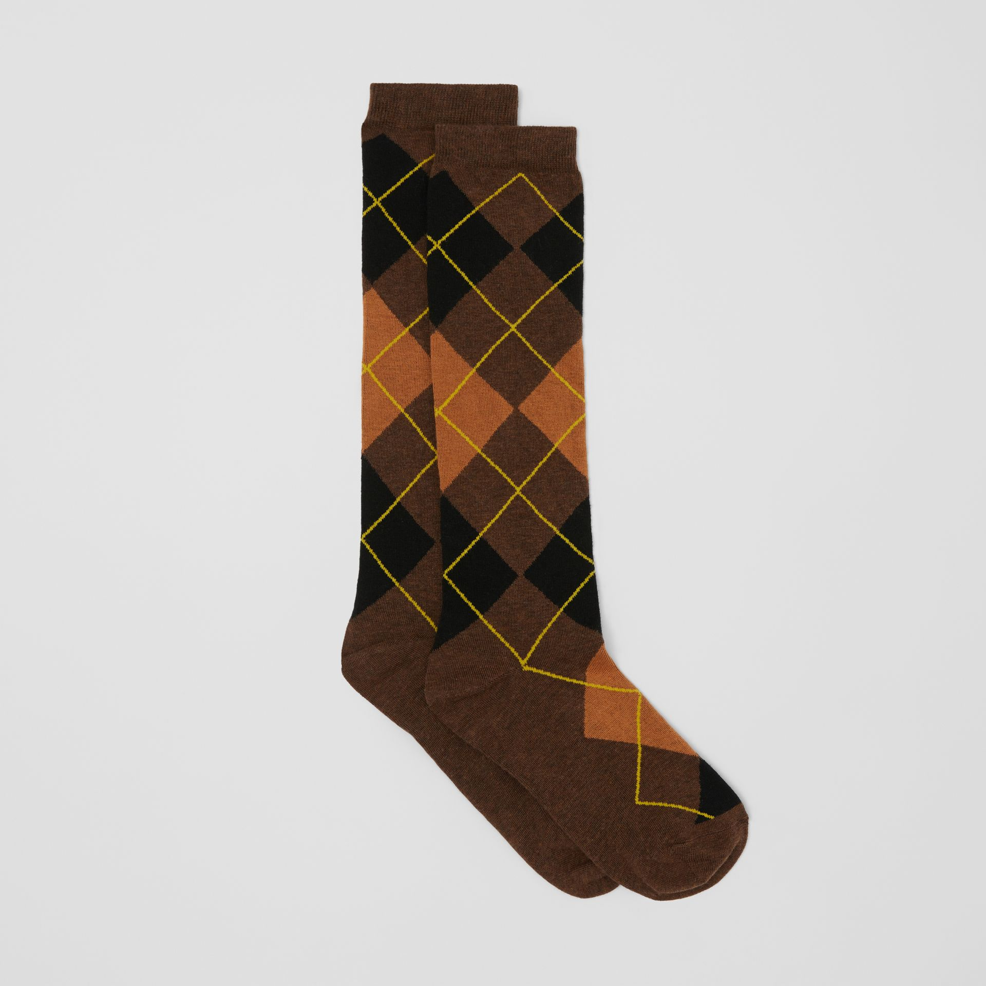 Argyle Intarsia Cotton Blend Calf-length Socks in Brown | Burberry - gallery image 2