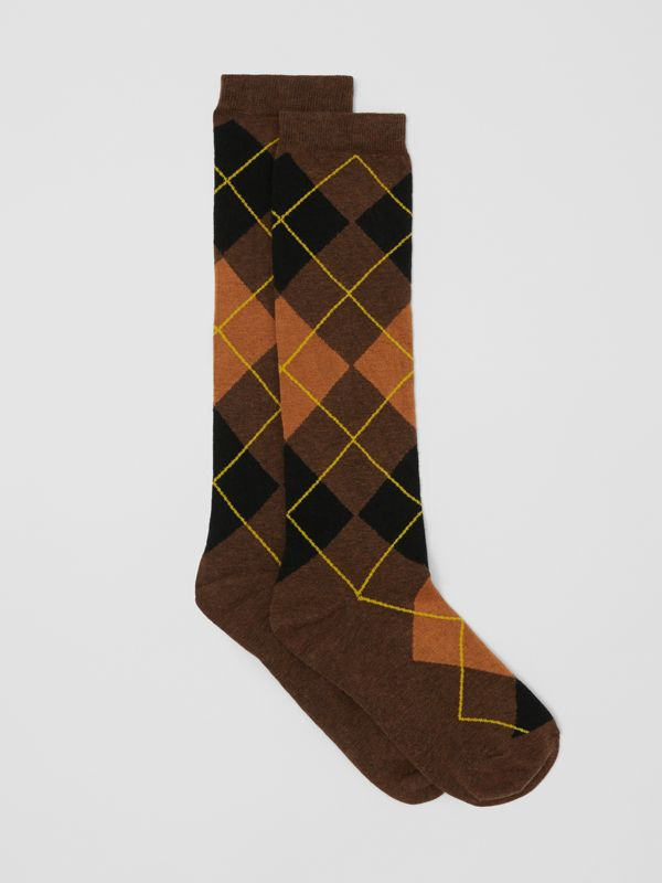 Argyle Intarsia Cotton Blend Calf-length Socks in Brown | Burberry - cell image 2