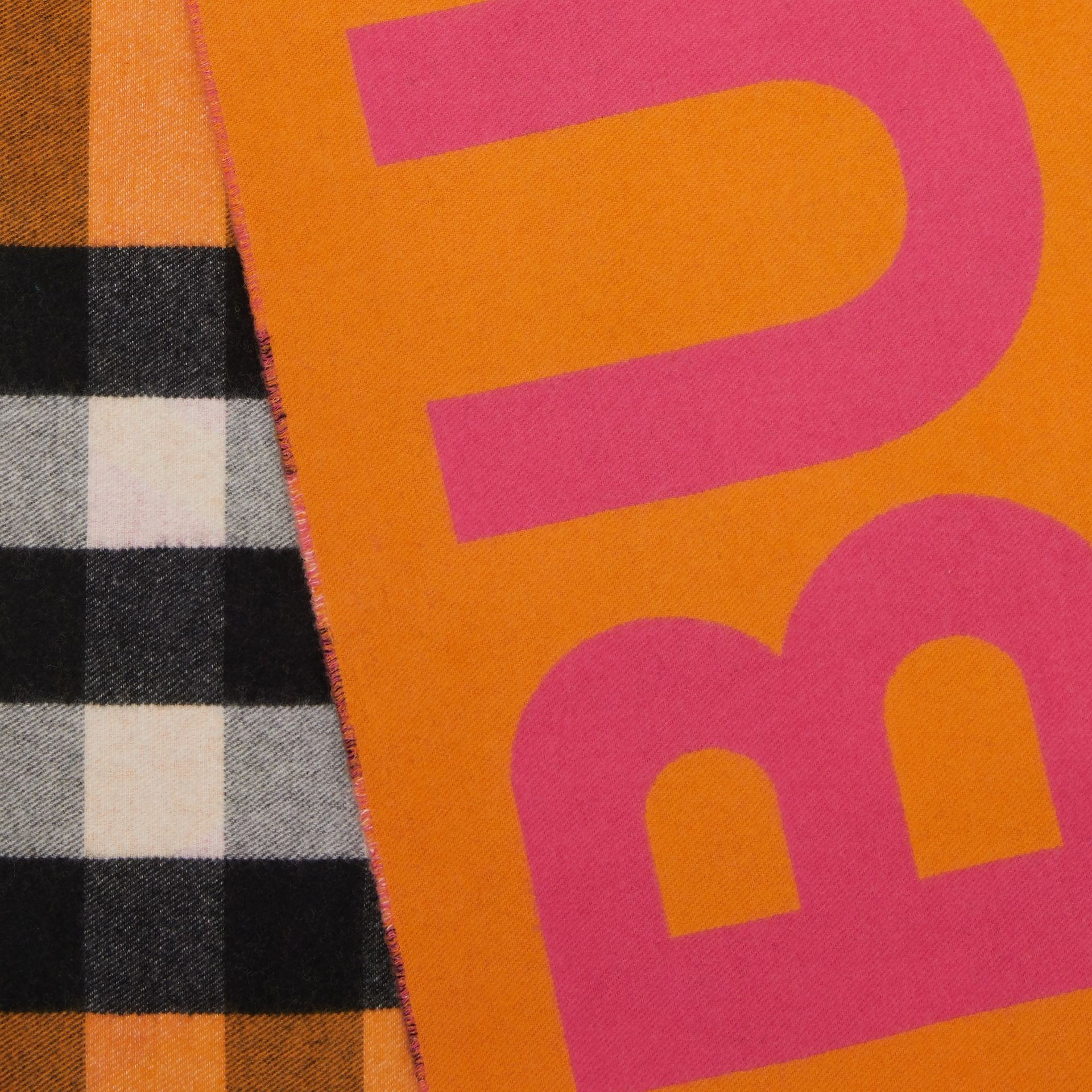 Reversible Check and Logo Cashmere Scarf in Orange | Burberry - gallery image 1