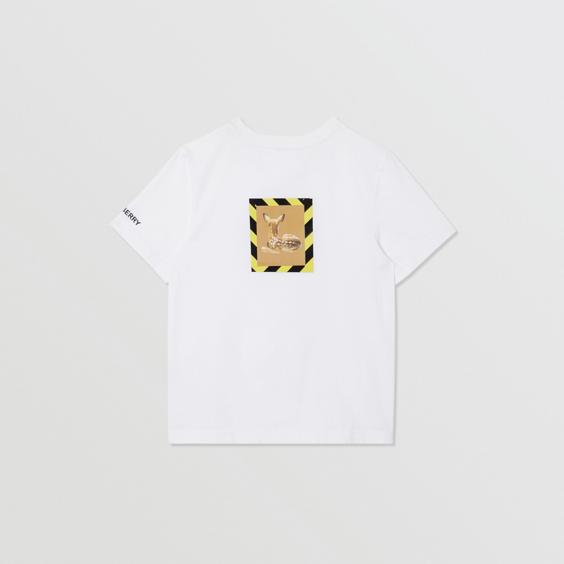 Deer Print Cotton T-shirt in White | Burberry United States - gallery image 4