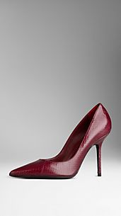 Point-Toe Snakeskin Pumps