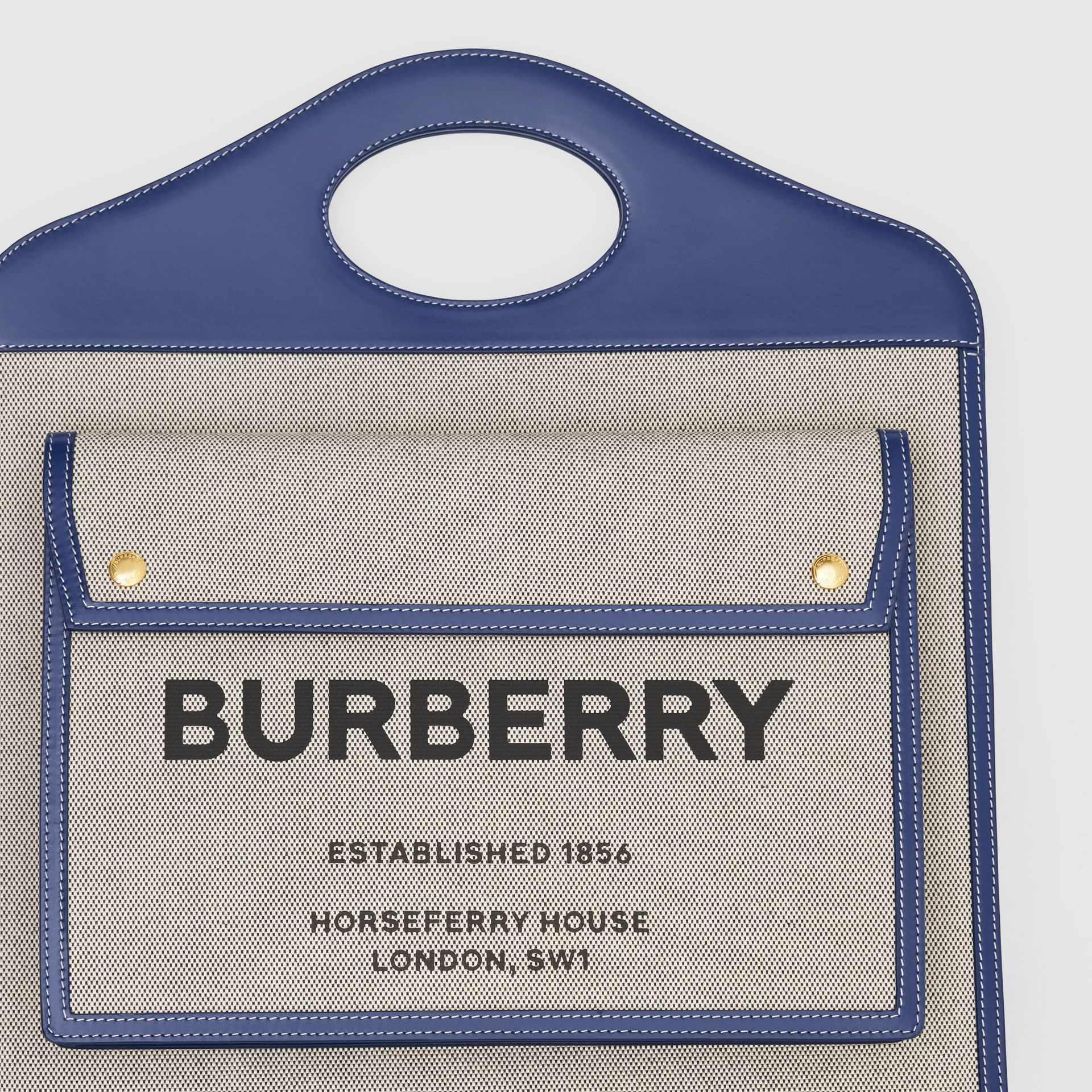 Medium Two-tone Canvas and Leather Pocket Bag in Ink Navy - Women | Burberry - gallery image 1
