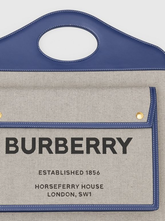 Medium Two-tone Canvas and Leather Pocket Bag in Ink Navy - Women | Burberry - cell image 1