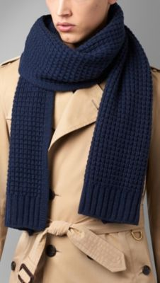 Knitting Pattern Burberry Scarf : Waffle Knit Cashmere Scarf Burberry