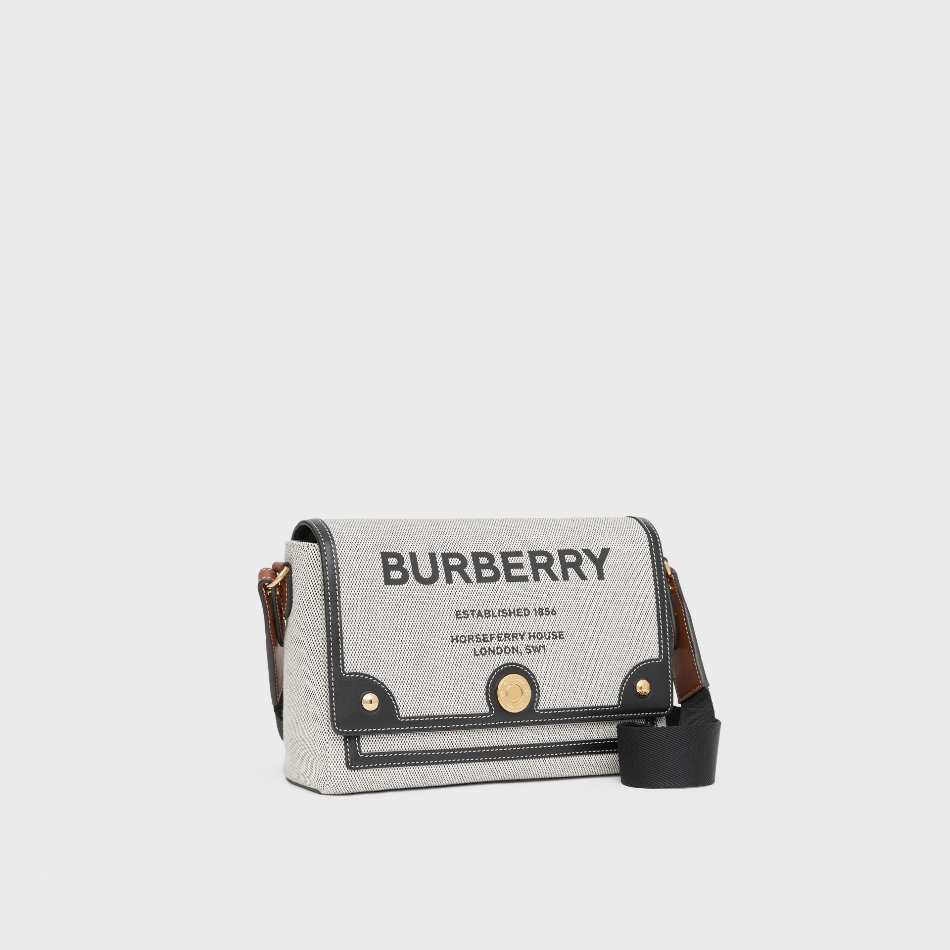 Horseferry Print Canvas Note Crossbody Bag in Black/black/tan - Women | Burberry - gallery image 4