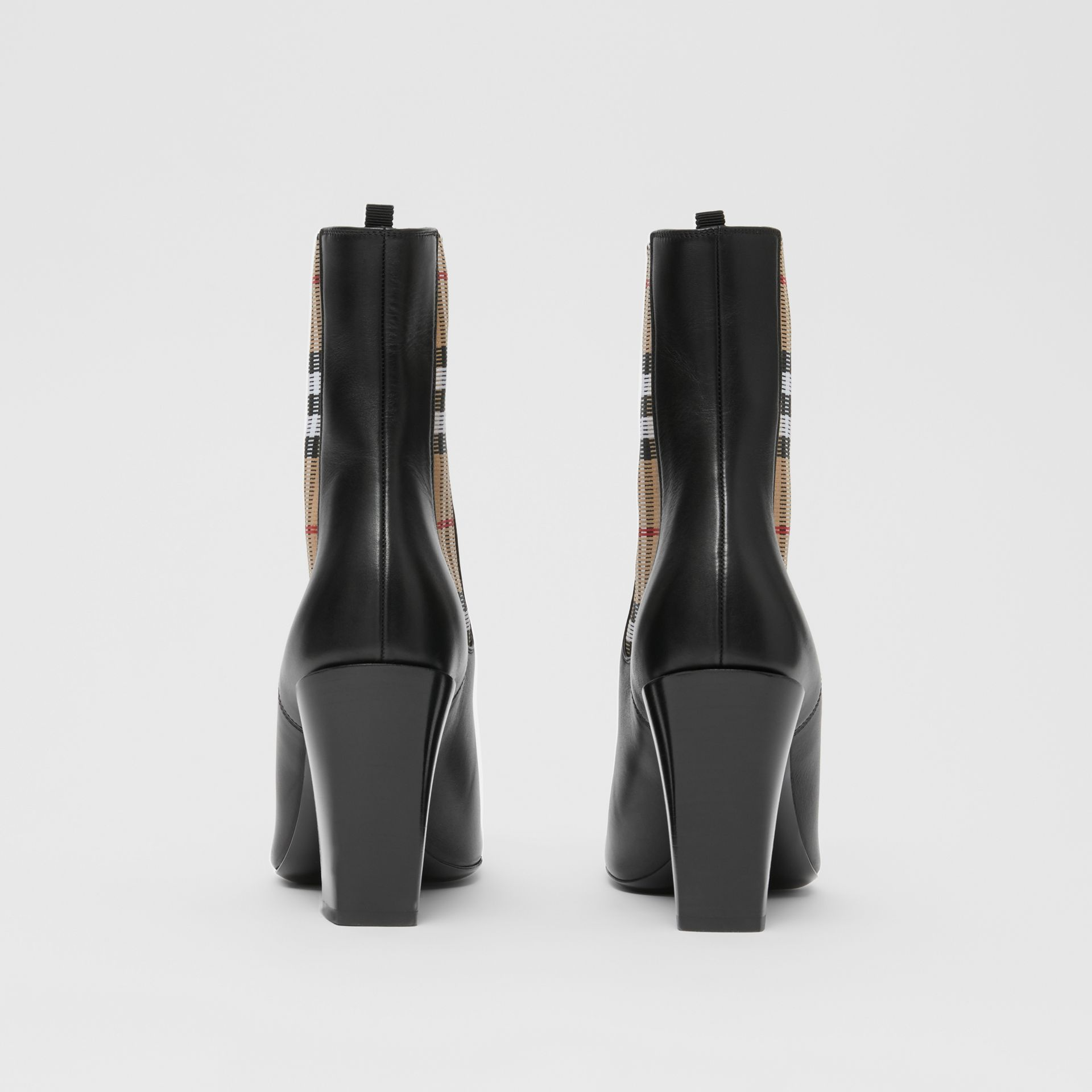 Vintage Check Detail Leather Ankle Boots in Black - Women | Burberry United Kingdom - gallery image 3