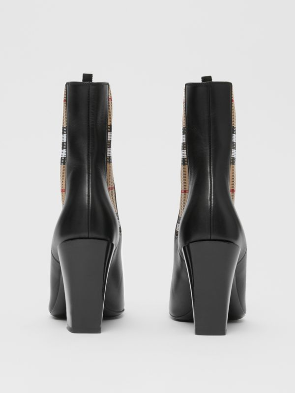 Vintage Check Detail Leather Ankle Boots in Black - Women | Burberry United Kingdom - cell image 3