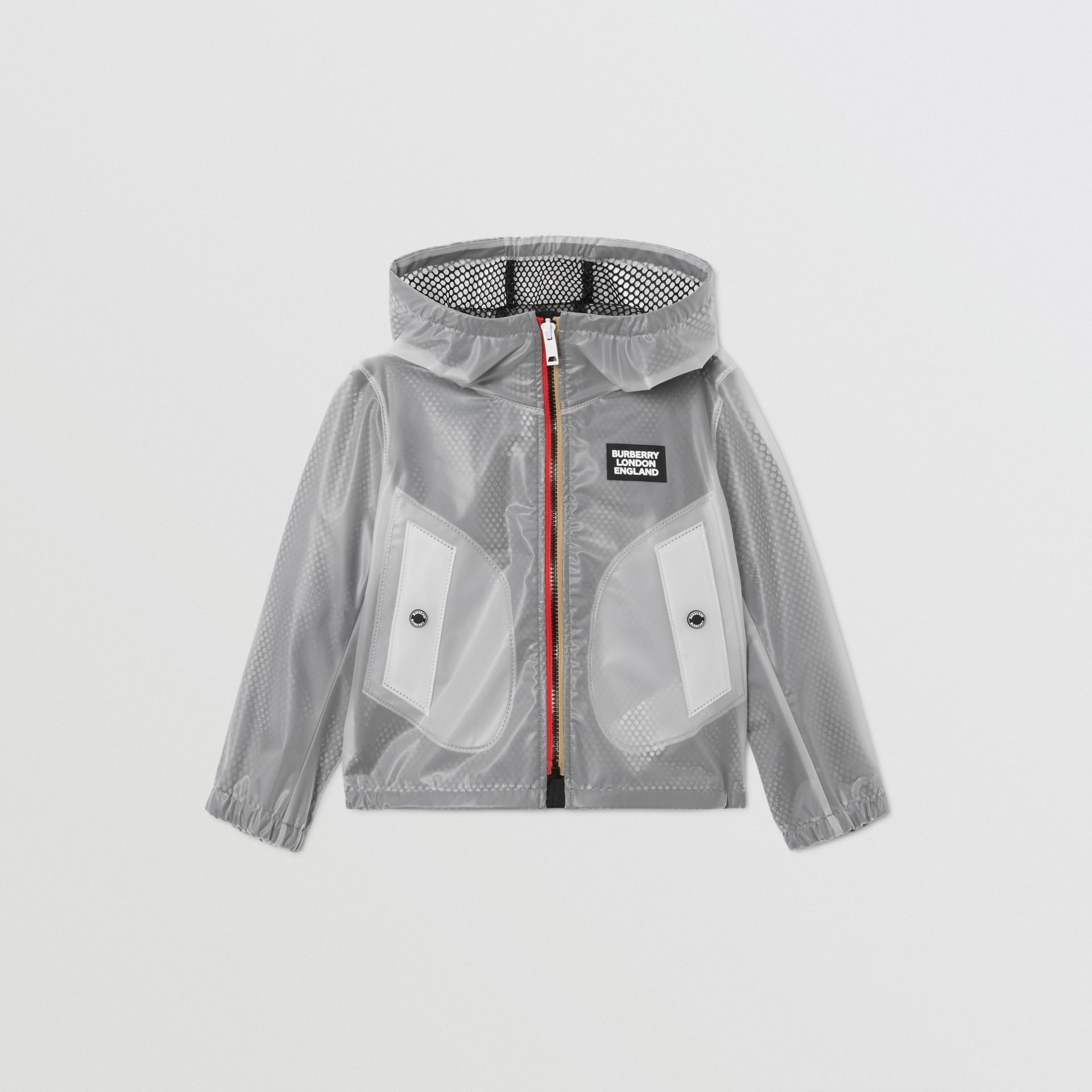 Logo Print Lightweight Hooded Jacket in Clear | Burberry - gallery image 0