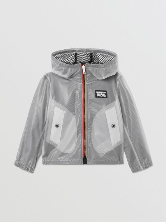 Logo Print Lightweight Hooded Jacket in Clear