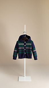 Fair Isle Cashmere Cotton Hooded Cardigan