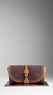 Lock Detail Nubuck Clutch Bag