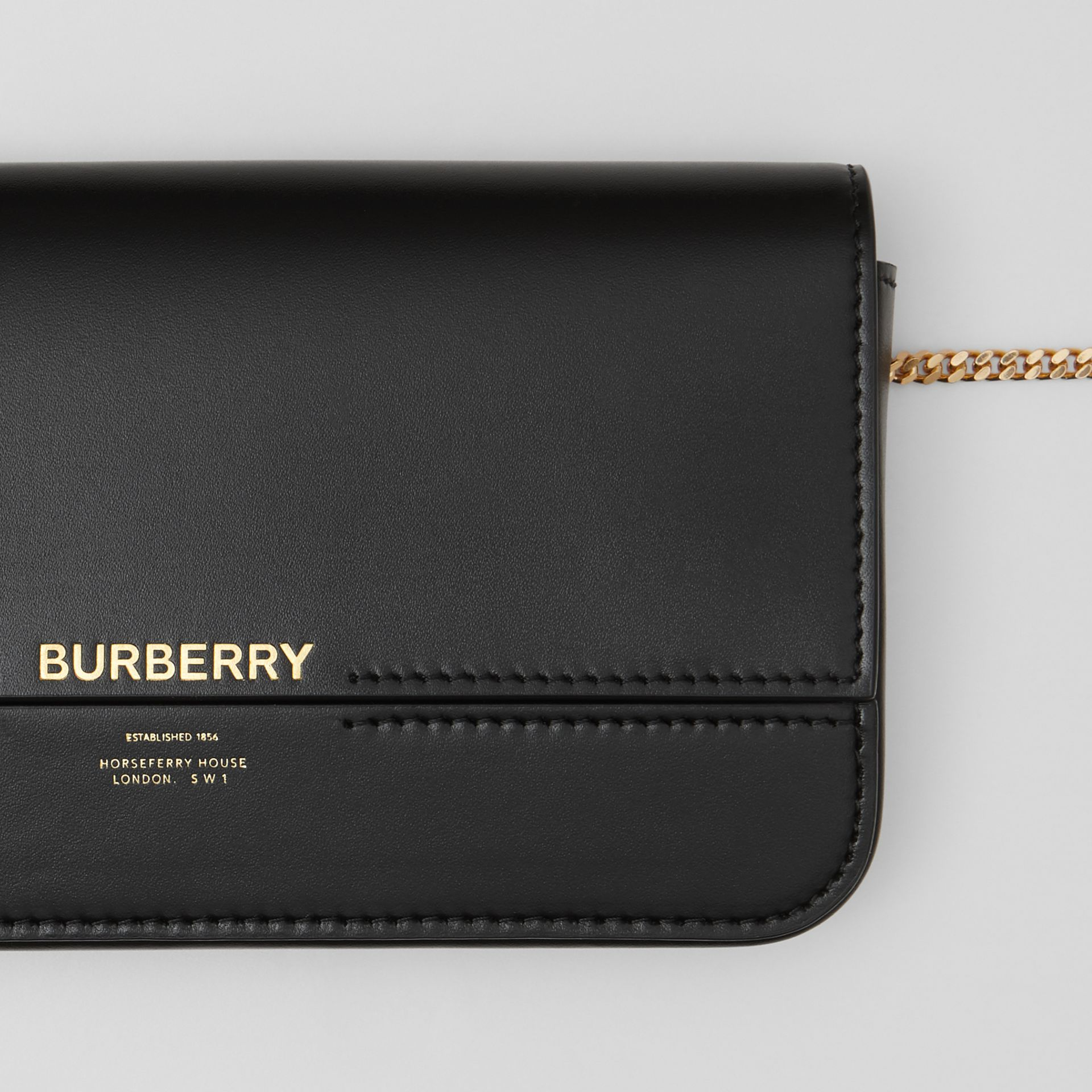 Leather Wallet with Detachable Chain Strap   Burberry United Kingdom - gallery image 1