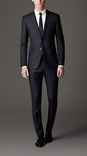 Modern Fit Windowpane Check Virgin Wool Suit