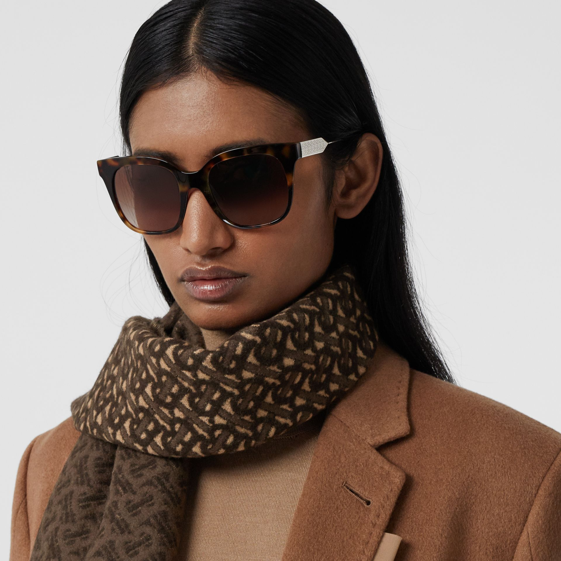 Monogram Cashmere Jacquard Scarf in Bridle Brown | Burberry - gallery image 2
