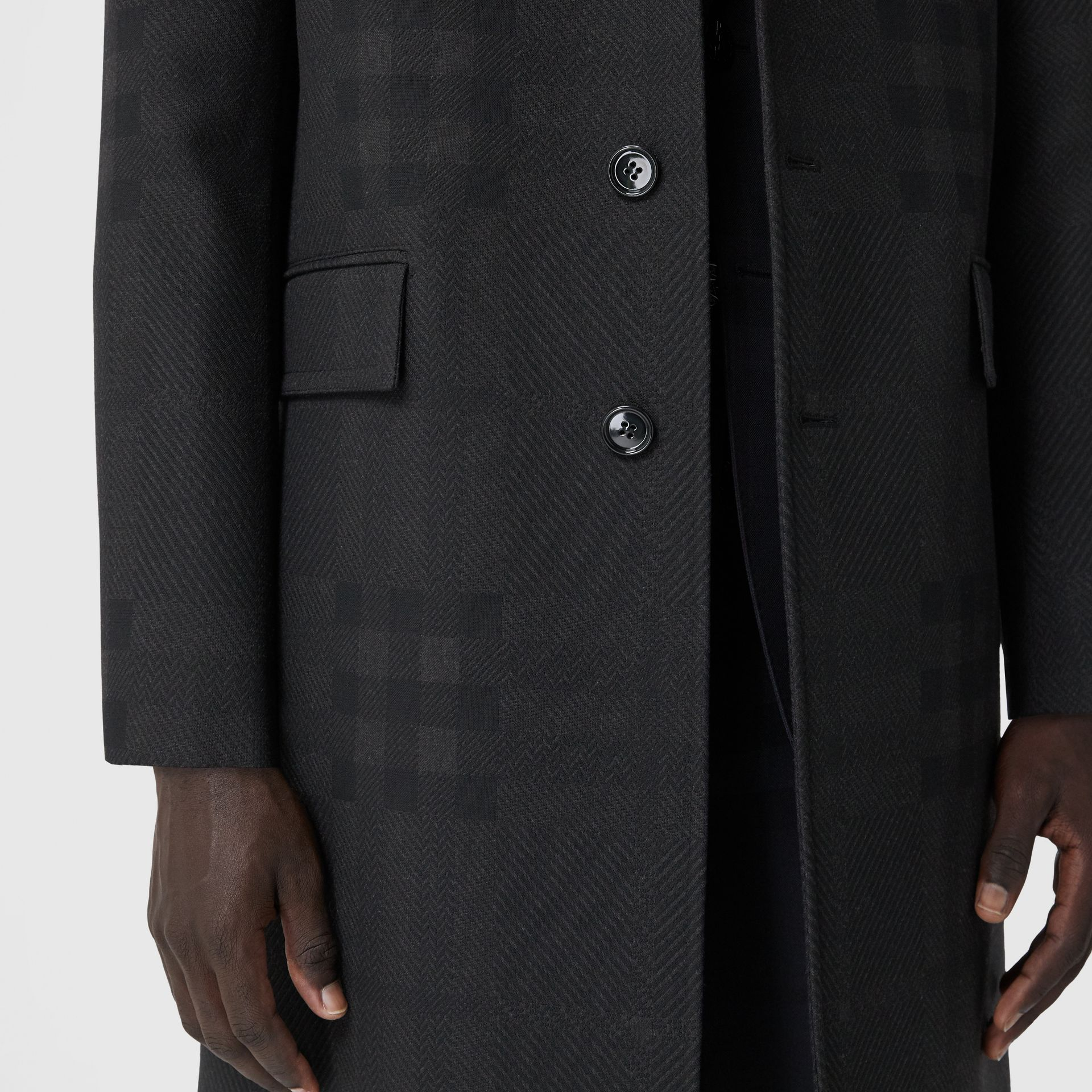 Check Wool Jacquard Tailored Coat in Charcoal Black - Men | Burberry - gallery image 4