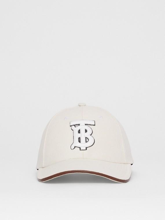 Monogram Motif Cotton Linen Canvas Baseball Cap in White