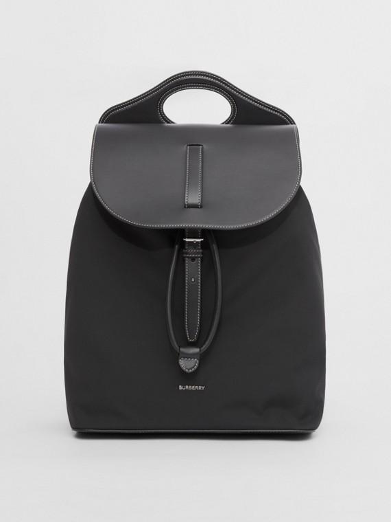 """Rucksack """"Pocket"""" aus Nylon und Leder (Schwarz)"""