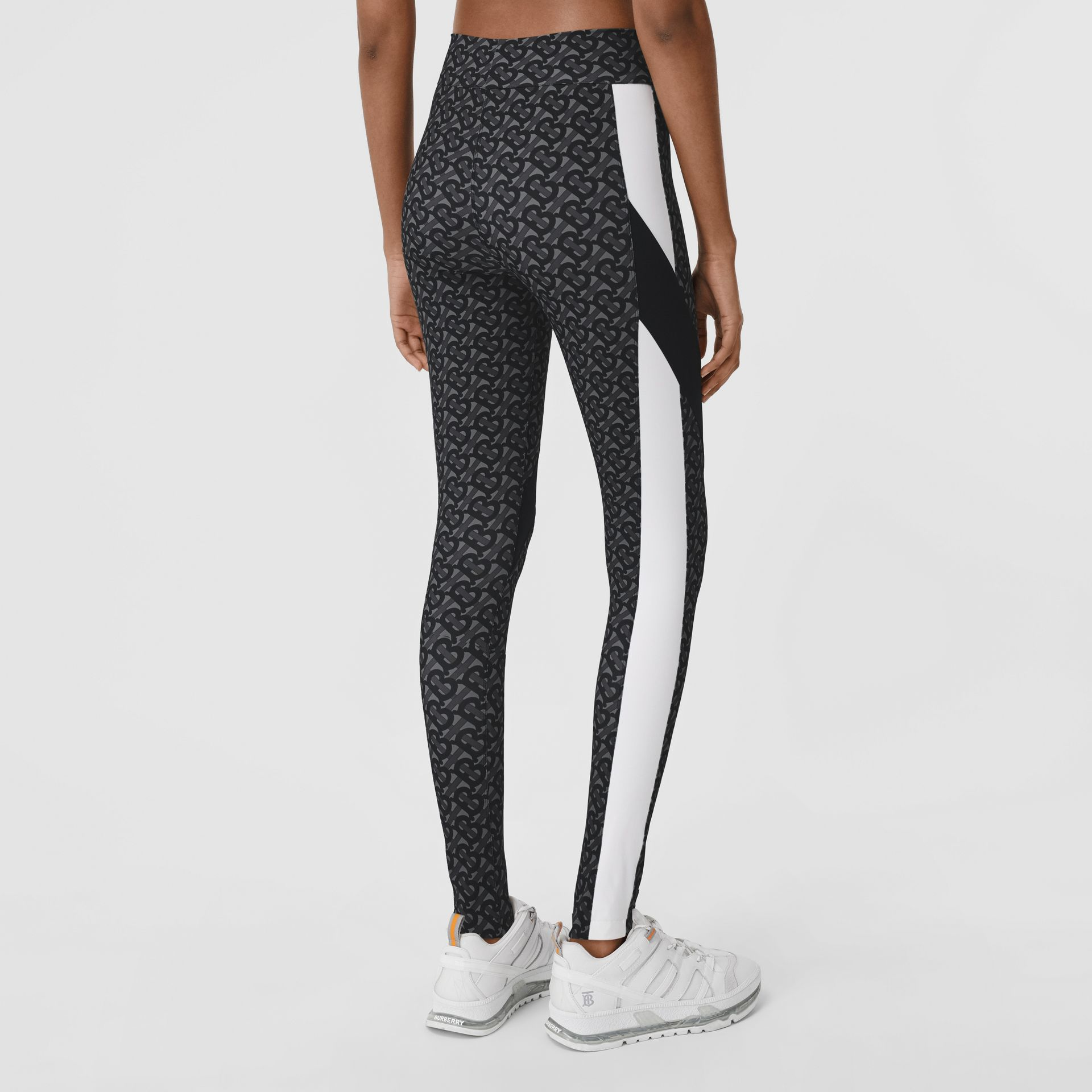 Colour Block Monogram Print Stretch Jersey Leggings in Graphite - Women | Burberry - gallery image 2