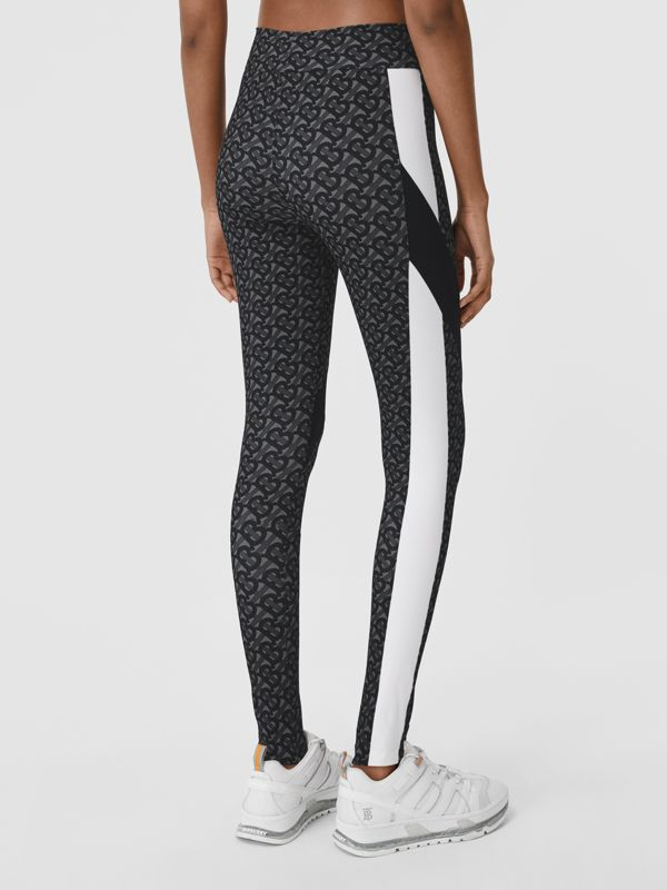 Colour Block Monogram Print Stretch Jersey Leggings in Graphite - Women | Burberry - cell image 2