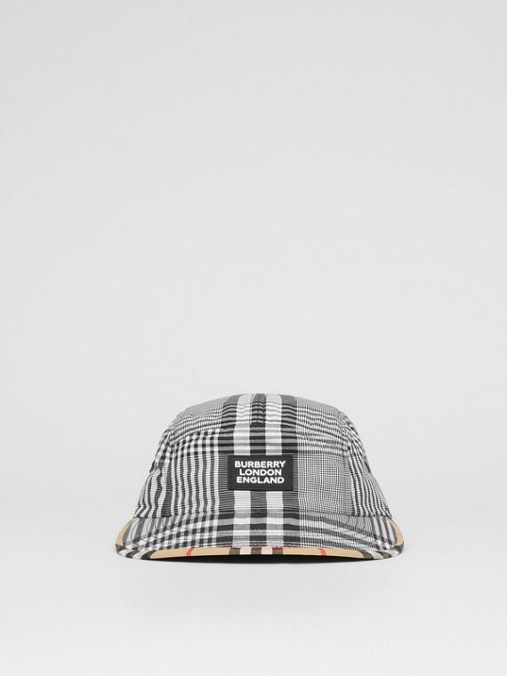 徽標貼花格紋棉棉府綢球帽 (黑色/白色)