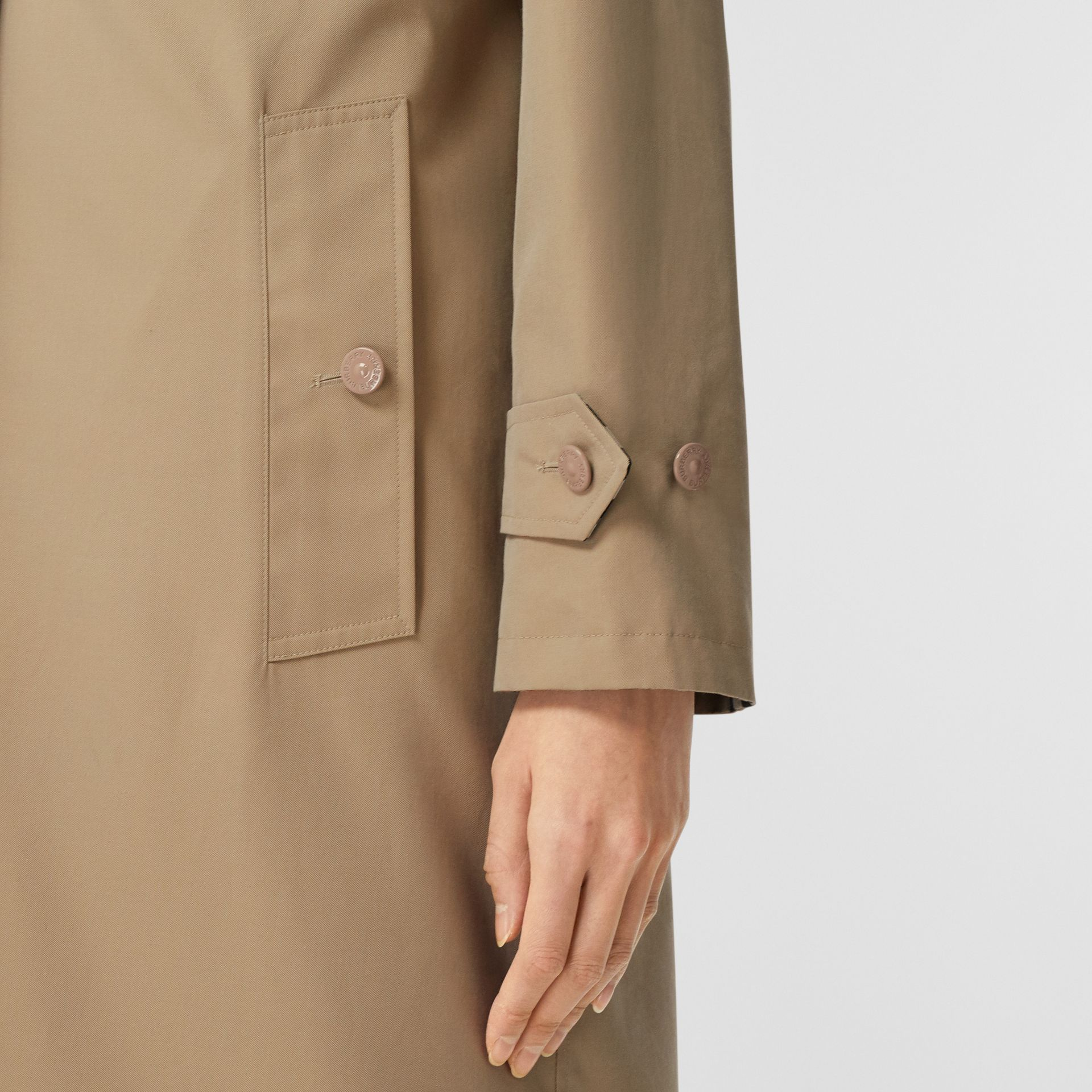 Reversible Cotton and Recycled Polyester Car Coat in Honey - Women | Burberry Australia - gallery image 3