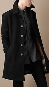 Mid-Length Lightweight Wool Blend Trench Coat