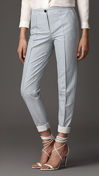 Tailored Seersucker Slim Leg Trousers