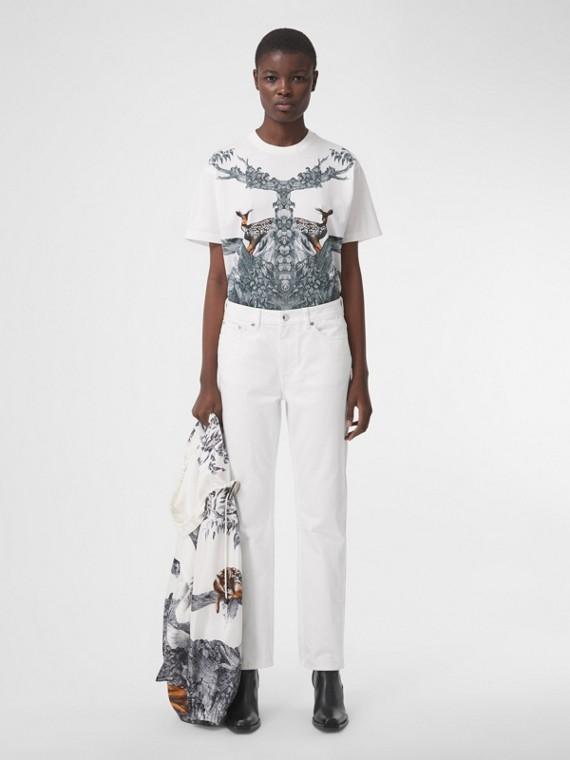Camiseta oversize de algodão com estampa de cervo (Branco)