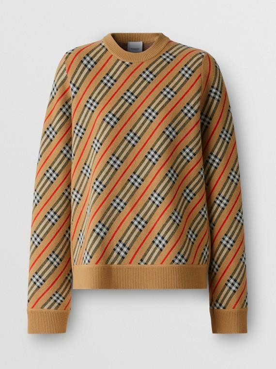 Stripe Merino Wool Blend Sweater in Camel