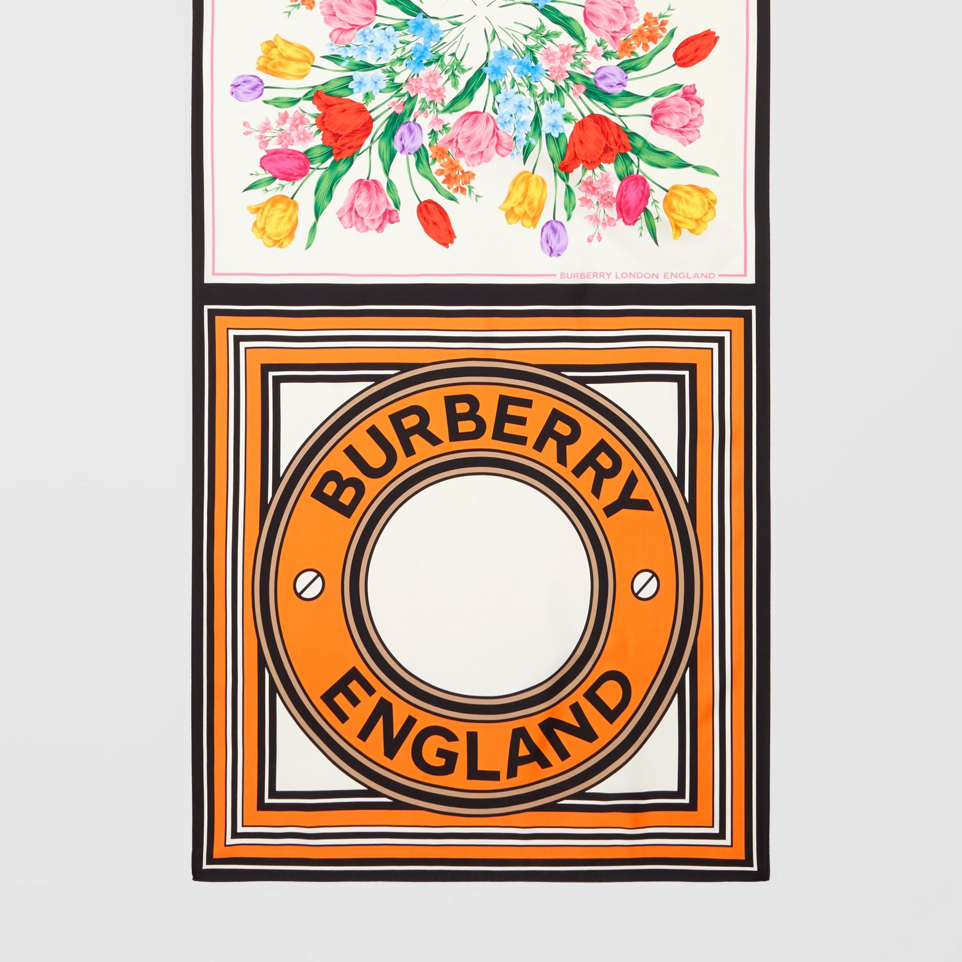 Montage Print Silk Scarf in Bright Orange | Burberry - gallery image 4