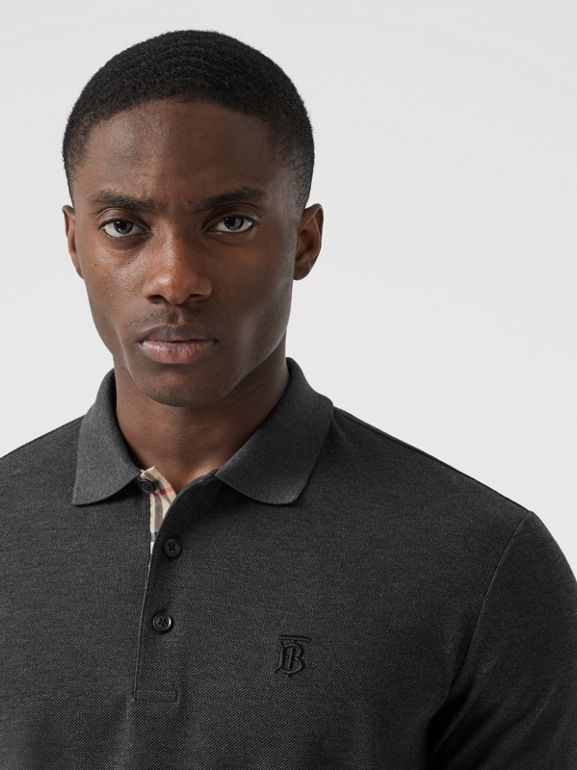 Monogram Motif Cotton Piqué Polo Shirt - Men | Burberry United Kingdom - cell image 1