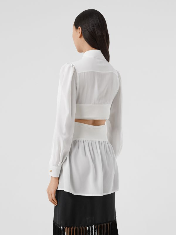 Logo Detail Cut-out Silk Shirt in Optic White - Women | Burberry United States - cell image 2