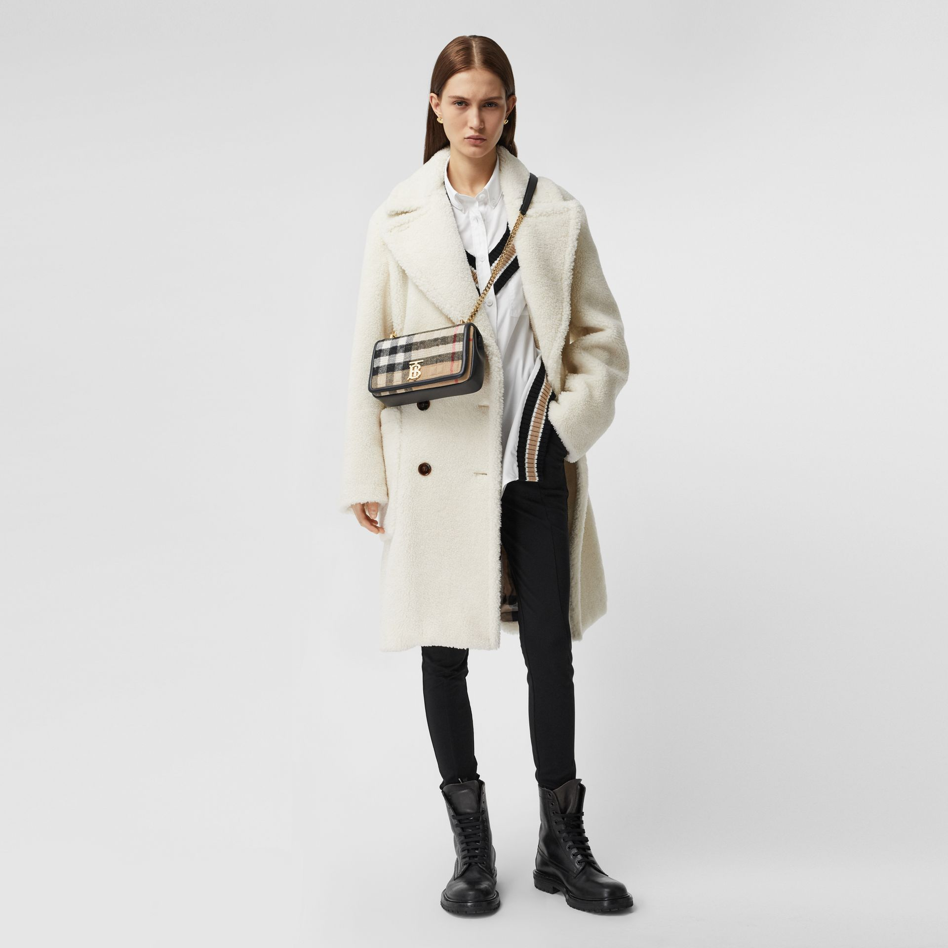 Small Check Cashmere Lola Bag in Archive Beige - Women | Burberry United States - gallery image 5