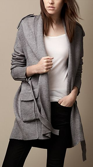 Merino Wool Multistitch Wrap Cardigan