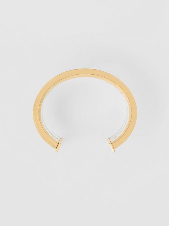 Resin and Gold-plated Cylindrical Cuff in Light Gold/crystal