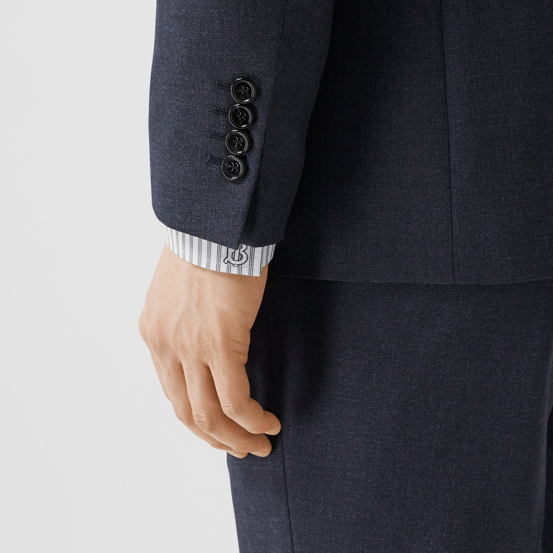 Classic Fit Wool Three-piece Suit in Navy - Men | Burberry - gallery image 10