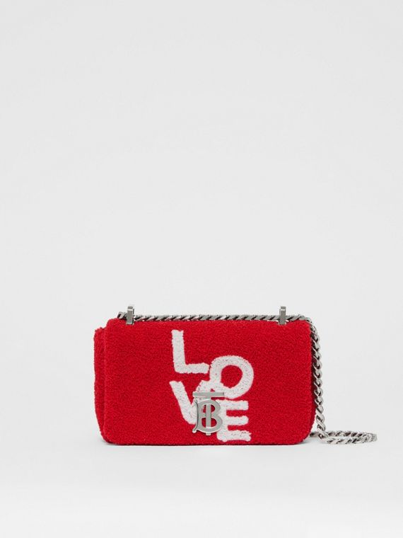 Mini Love Motif Towelling Lola Bag in Red/white