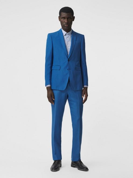 Pantaloni sartoriali dal taglio classico in mohair, seta e lino (Blu Ceruleo Scuro)