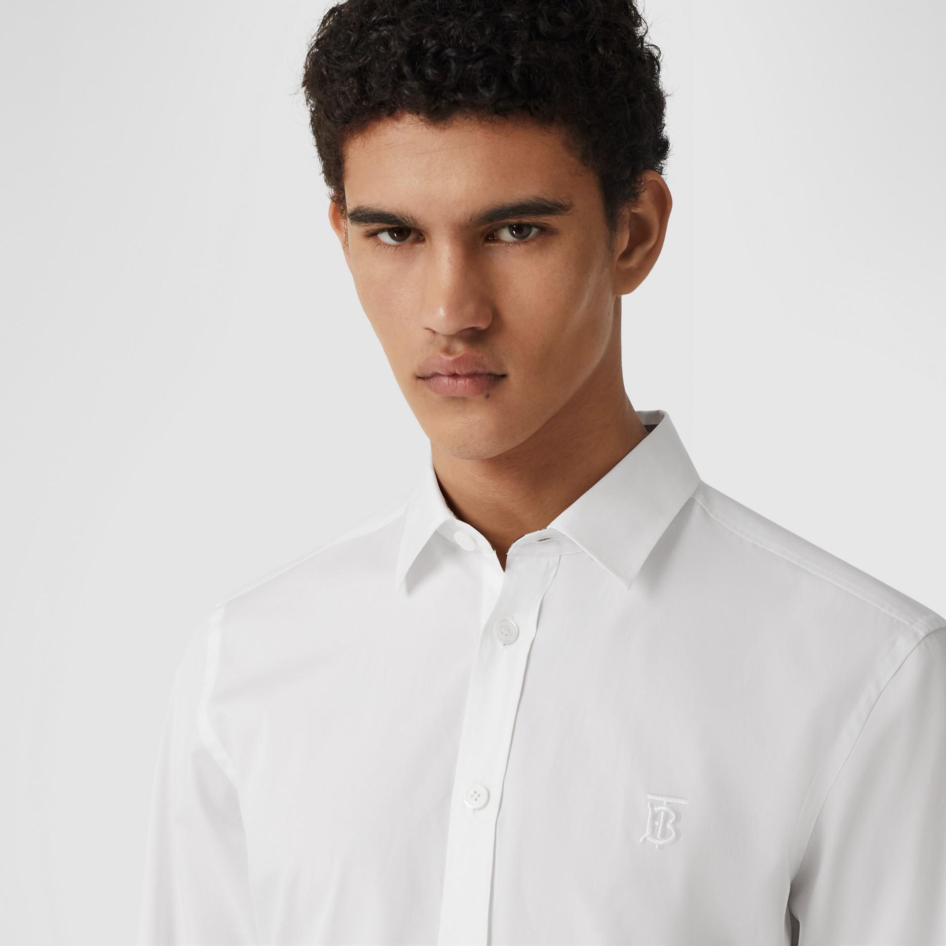 Slim Fit Monogram Motif Stretch Cotton Poplin Shirt in White - Men | Burberry United States - gallery image 4