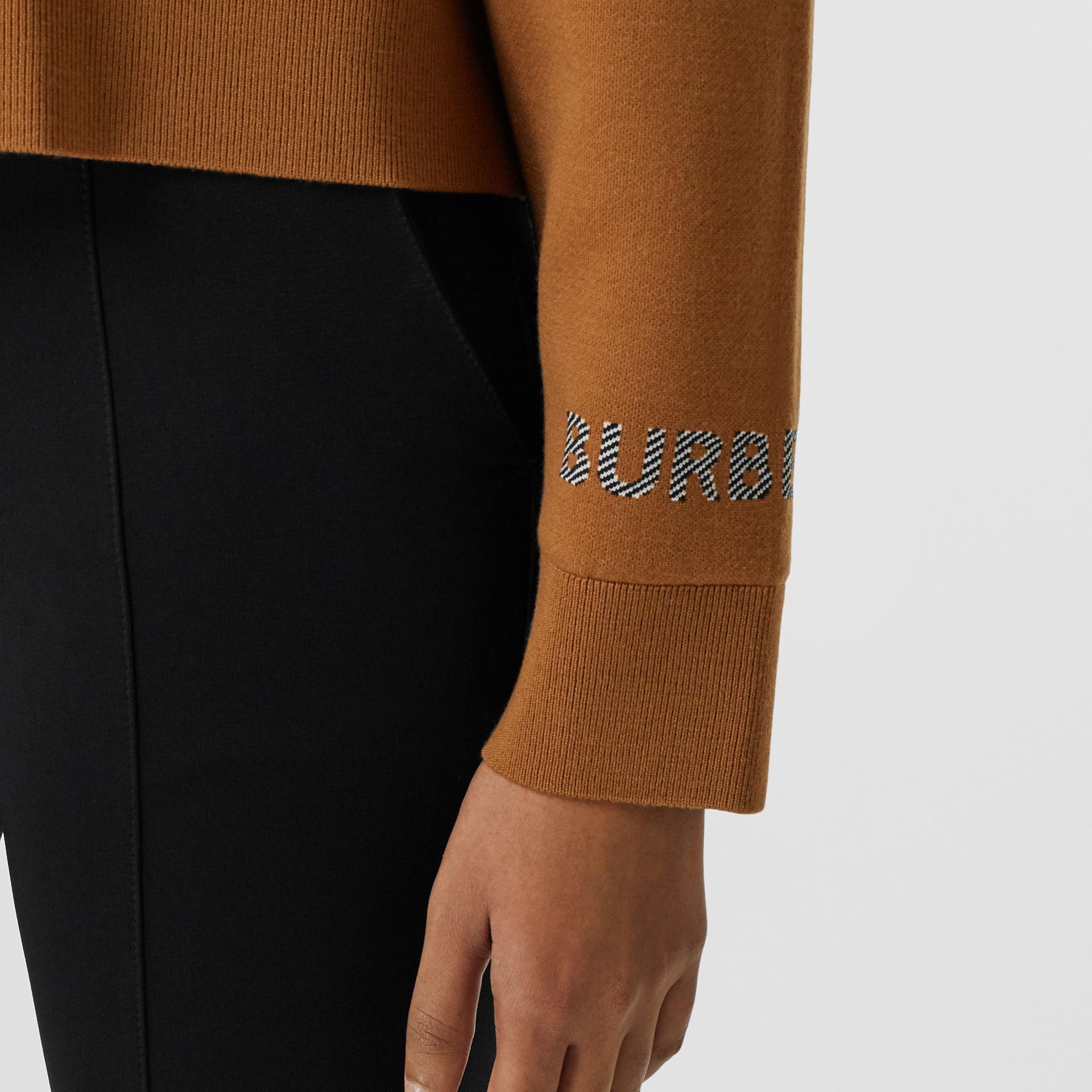 Logo Technical Merino Wool Jacquard Sweater in Chestnut - Women   Burberry - gallery image 4