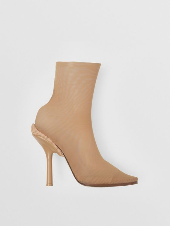 Stretch Tulle Sock Boots in Beige
