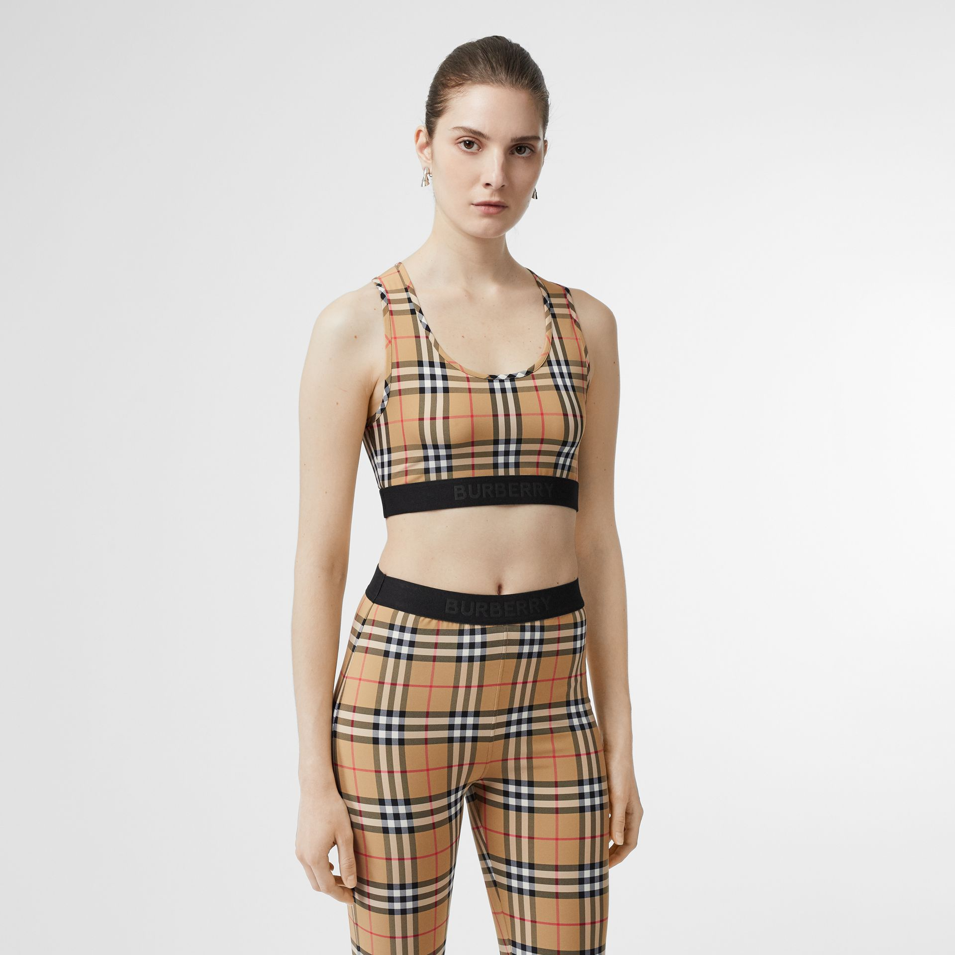 Logo Detail Vintage Check Bra Top in Antique Yellow - Women | Burberry United States - gallery image 4