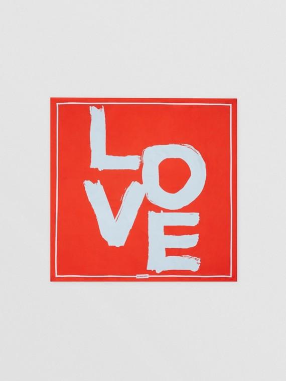 LOVE 프린트 실크 스퀘어 스카프 (레드/카멜)